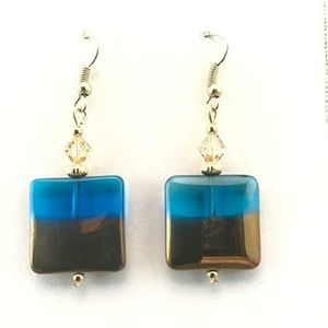 Turquoise Blue/Gold Dipped~Crystal~Earrings